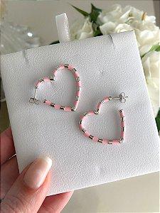 Argola Heart Esmaltada Rosa Prata 925