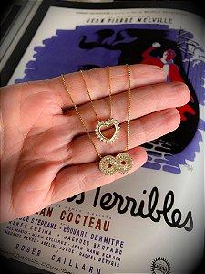 New! Colar Coração Gold Prata 925