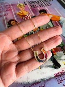 Colar Ferradura Rainbow Gold Prata 925