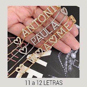 Pulseira Personalizada 11 a 12 Letras Cravejadas