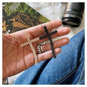 Colar Cruz Maleável Black Prata 925