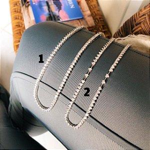 (2) Colar Riviera Coracao 42 cm Prata 925