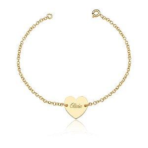 Pulseira Heart Personalizada Gold - Prata 925