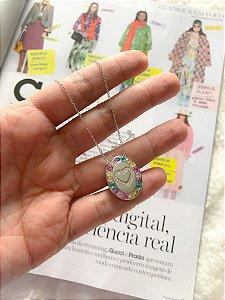 New! Colar Relicario Coracao Candy Color Prata 925