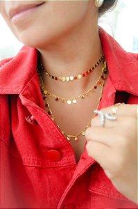 Colar Choker Plaquinha Gold 30-40 cm