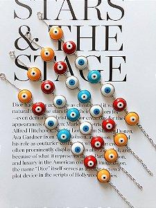 New! Pulseira Olho Grego Color Prata 925
