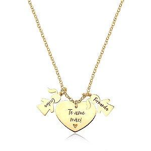 Colar Amor Materno 2 MENINAS Gold Prata 925