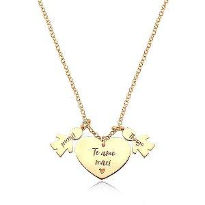Colar Amor Materno 2 MENINOS Gold Prata 925