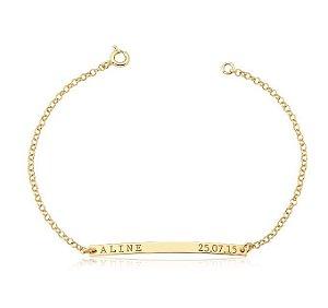 Pulseira Infantil Nome e Data Nascimento Gold 15 cm• Prata 925