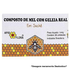 COMPOSTO DE MEL E GELEIA REAL EM SACHE 36UNID APIS FLORA