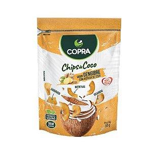 Chips de Coco com Açúcar de Coco COPRA Vegano Sem Glúten Sabor Gengibre 60g