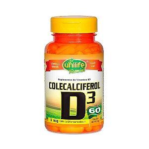 Vitamina D3 (Colecalciferol) UNILIFE 2000ui 60 Cápsulas Vegetais