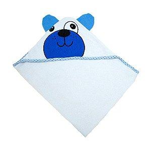 Toalha Bebê Com Orelhinhas Branca Com Azul Jeito Inocente
