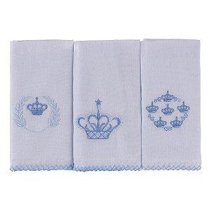 Kit Pano De Boca Bordados Karinho Coroa 03 Peças Azul