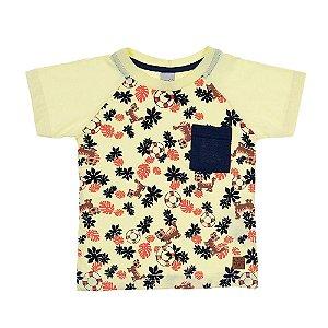 Camiseta Infantil Raglã Tigre Ralakids Amarela