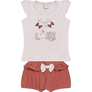 Conjunto Infantil Love Wilbertex Branco