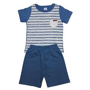 Conjunto Infantil Listras Wilbertex Azul
