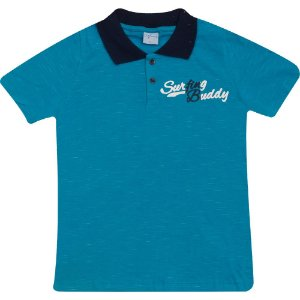 Camiseta Gola Polo Juvenil Wilbertex Azul