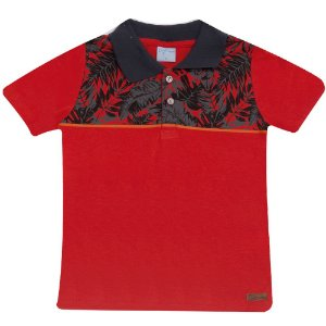 Camiseta Infantil Gola Polo Wilbertex Vermelha