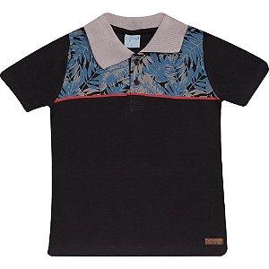 Camiseta Infantil Gola Polo Wilbertex Preta