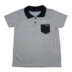 Camiseta Infantil Gola Polo Listras Wilbertex Mescla