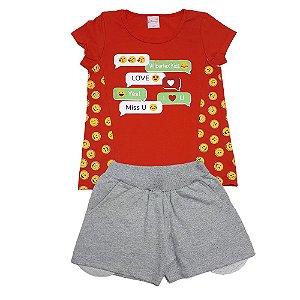 Conjunto Infantil Emoji Wilbertex Vermelho
