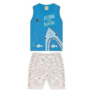 Conjunto Infantil Tubarão Hrradinhos Azul