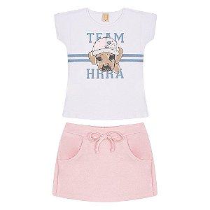 Conjunto Infantil/Juvenil Dog Team Hrradinhos Branco