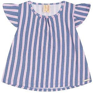 Blusa Infantil Listras Hrradinhos Azul
