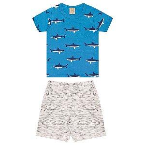 Conjunto Infantil Tubarões Hrradinhos Azul