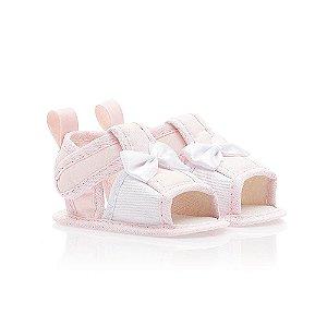Sandália Bebê Laço Cetim Baby Gut Rosa