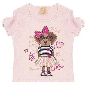 Blusa Infantil Love Dog Hrradinhos Rosa