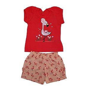 Conjunto Bebê Flamingo Wilbertex Vermelho