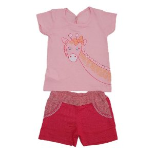Conjunto Bebê Girafa Wilbertex Rosa