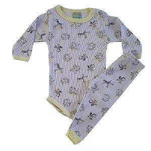 Conjunto Bebê Body Safari Jeito Inocente Amarelo