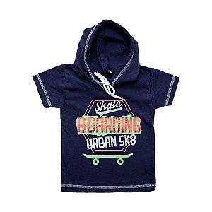 Camiseta Infantil Com Capuz e Cadarço Ralakids Marinho