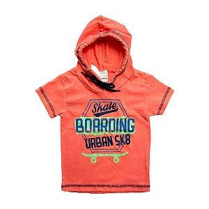 Camiseta Infantil Com Capuz e Cadarço Ralakids Laranja