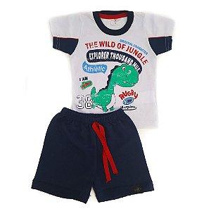 Conjunto Bebê Dino Bella Griffe Branco
