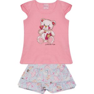 Conjunto Infantil Ursinho Wilbertex Rosa