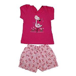 Conjunto Bebê Flamingo Wilbertex Pink