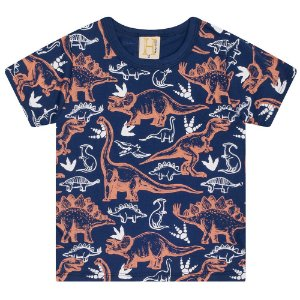 Camiseta Infantil Dinos Hrradinhos Marinho