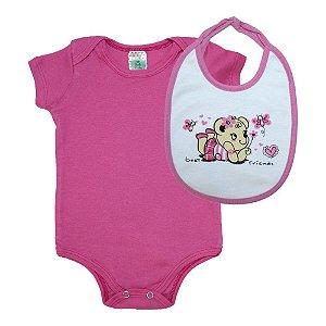 Kit Bebê Body e Babador Estampado Sati Baby Rosa