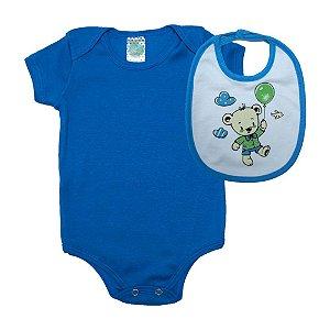 Kit Bebê Body e Babador Ursinho Sati Baby Azul