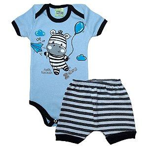Conjunto Bebê Body Zebra Jeito Inocente Azul