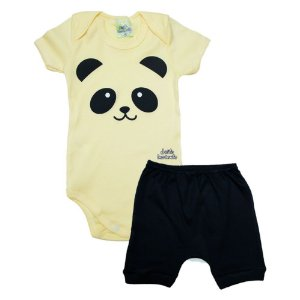 Conjunto Bebê Body Panda Jeito Inocente Amarelo
