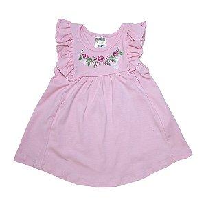 Vestido Bebê Flores E Babado Fantoni Rosa