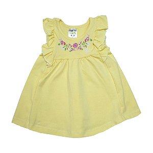 Vestido Bebê Flores E Babado Fantoni Amarelo