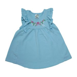 Vestido Bebê Flores E Babado Fantoni Azul