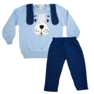 Conjunto Infantil Dog Hrradinhos Azul