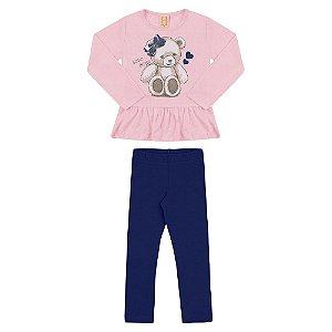 Conjunto Infantil Urso Hrradinhos Rosa